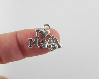 I Love My Dog Pewter Charms (set of 20) in Antiqued Silver - 14mm x 18mm