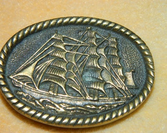1978 Sailing Ship  Belt Buckle, Brass Buckle, Made in USA, BTS Buckles, Brass Buckle, Pirate Ship Buckle