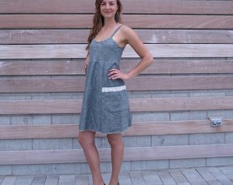 Tahoe Pocket Dress ~ Hemp & Organic Cotton Denim ~ Made to Order