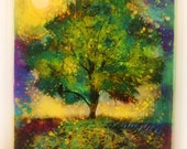 Firefly summer nights, 16x20 inches, mixed media photograph, original art, art, tree art, night, Owl, nature decor, colorful art, rustic
