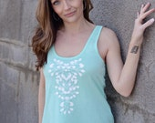 summer tanks. a line tank. summer tank tops. graphic tees for women. statement necklace. screenprint tshirt. mint green shirt. ellembee. new