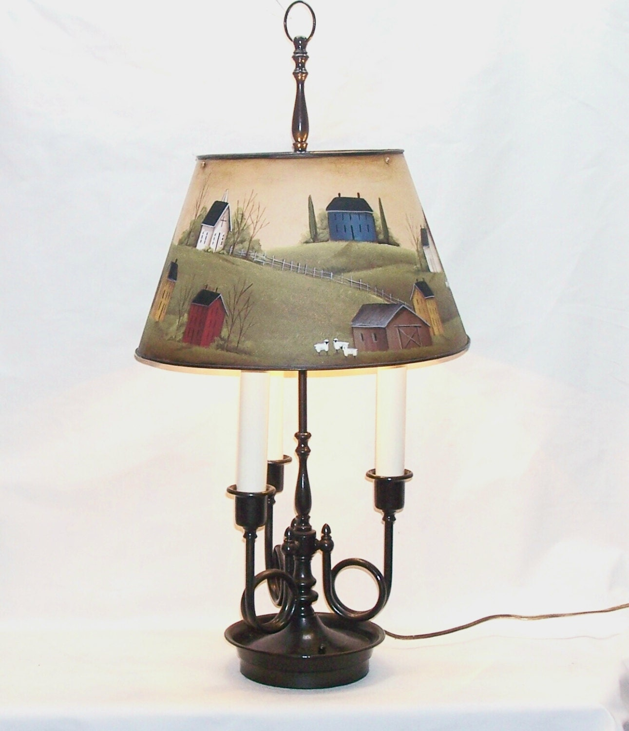 Hand Painted Lamp Shades: Lg Table Lamp Hand Painted Metal Shade Primitive Folk Art Home