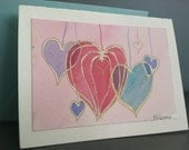 Valentine Hearts Greeting Card, original art, original painting, handpainted card, pink hearts, blank inside