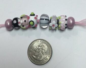 Pink Black White Lampwork Beads Elegance