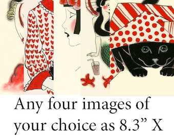 "SALE gift set - You choose your own personal set of  four X (8.3"" X 11.7"" = A4 inch) Prints"