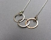 Mixed Metal Necklace 3 Circles Argentium Sterling Silver 14KT Goldfill Hammered Links