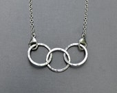 Argentium Sterling Silver 3 Circle Necklace Hammered Links Chain Family Mother Bold