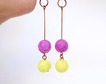 Gum Ball Earrings Light & Bright Gift for Her Summer Style 2015 Jewelry Felt Beads Antiqued Copper Dangle French Wires