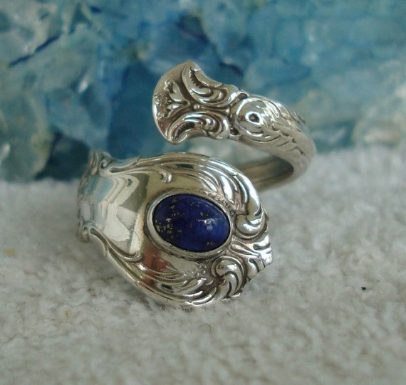 Vintage Lapis Towle Sterling Spoon Ring Old Master dmfsparkles