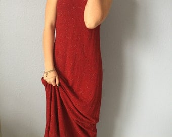 Vintage Red Formal Dress - NWT - Ronni Nicole by Ouida - Prom - Sparkling - Vintage size 8 - Floor Length, Sleeveless