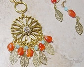 Carnelian Agate Beaded Gold Pendant Necklace & Earring Gift Set, Gold Pendant necklace, Carnelian Agate Necklace,Gift Set for Her
