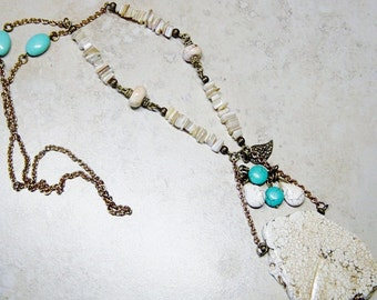 White Magnesite Necklace, Turquoise Magnesite Bead Necklace, Antique Brass Beaded Chain Necklace, Pendant Necklace, Boho, Hippie