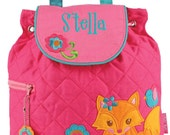 Girls Backpack Personalized Fox Stephen Joseph Quilted Preschool Toddler