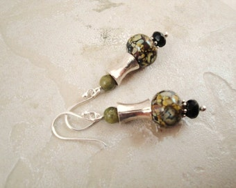 Sterling silver earrings with glass beads...  Earthy. Boho, one of a kind earring.