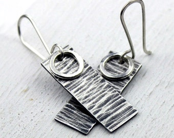 Rustic Hammered Silver Earrings with Bright Silver Circles, Rectangle Dangle Earrings