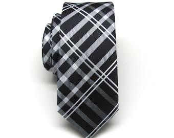 Skinny Tie. Mens Ties. Black and Silver Plaid Skinny Neckties