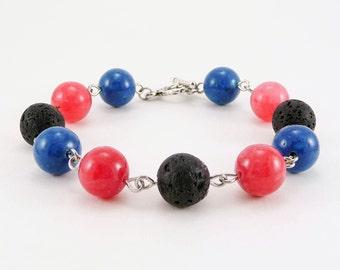 Essential Oil Bracelet, Lava Bead Bracelet, Blue and Pink Bracelet, Lava Stone Jewelry, Diffuser, Gemstone Bracelet, Aromatherapy Jewelry