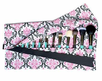Large Makeup Brush Roll Holder Organizer, Damask, Pink/Black/White - In Stock Ready to Ship