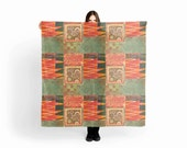 Festival Scarf,Chiffon Scarf, Large Scarf,Summer Scarf,Pareo,Women Scarf,Tribal,Boho,Green,Orange,Original Art,Monotype,Vicki Bolen