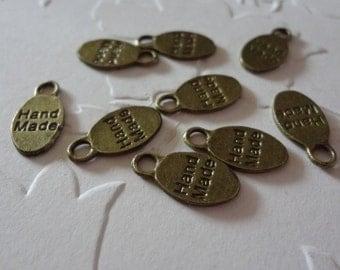 9 -Bronze Tone HAND MADE TAG - Metal Charms