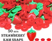 Strawberry Engraved KAM Snaps. plastic snap buttons. KAM snap sets. KAM snap fasteners. diaper snaps. bib snaps. snaps for fabric