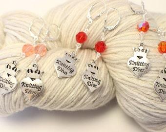 Knitting Diva Earrings - Red/Orange