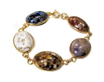 Vintage Bracelet Faux Gemstone Bracelet, Cabochon Link Bracelet
