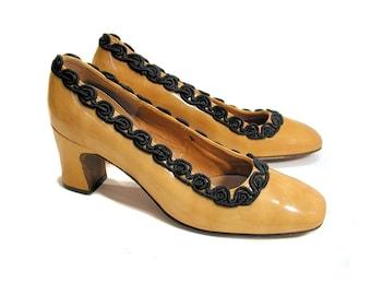 70s Mod Pumps, Mustard Yellow Patent Leather Heels size 8, AdLib Mod Shoes