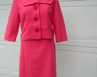 Hot Pink Suit 1960s Wool Vintage Jackie O - Custom Made Size S M