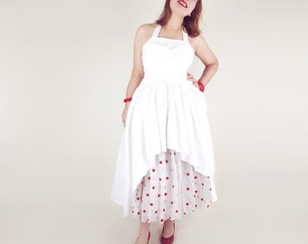 50s White Pique Sundress with Red Polka Dot Organdy Under or Over Skirt XS S