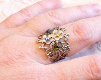 osO FAIRIES GARDEN Oso blue/purple/green/amber flower silver ring