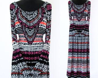 CLEARANCE! - MAYA - Size SMALL -   Black White Pink Orange Maxi Peasant Dress