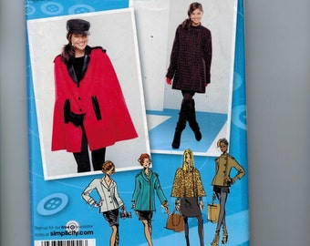 Misses Sewing Pattern Simplicity 1942 Misses Coat jacket and Cape Size 4 6 8 10 12 14 16 18 20 Bust 29 30 32 34 36 38 40 42 UNCUT  99
