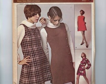 1960s Vintage Sewing Pattern Redbook RB500 Misses Mod Mini Dress with Side Buttons Size 16 Bust 38 1960s 60s UNCUT