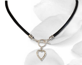 BDSM Collar An Open Heart Daytime Submissive Collar BDSM Slave Collar Sterling Silver Heart