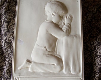 Vintage Chalk Ware Praying Boy Bedtime Prayer