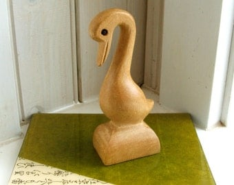 Mid Century Monkey Pod Carved Wood Bird Duck Crane