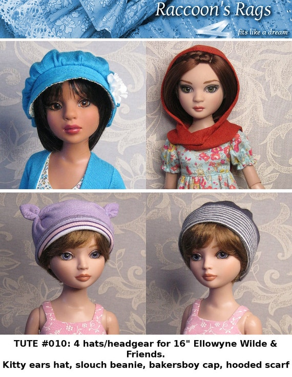 "PDF Full tutorial with pattern TUTE#010: Four different hats or headgear for 16"" Ellowyne Wilde and friends, & most msd."