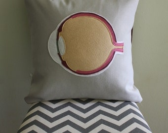 Science Diagram Pillow - Eye // Anatomy // Medicine // Ophthalmologist // Optometrist // Optician // Lasik // Iris // Pupil // Retina