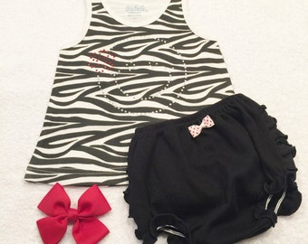 Baby Tank Dress Set Zebra Tank Dress Set Baby Summer Dress Set Happy Face Dress Set