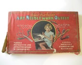 Rare Antique 1930's Jean Darling's Art Needlework Outfit Collectible Sewing & Embroidery Kit