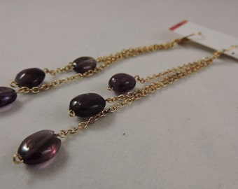 Long Gold and Amethyst Dangles