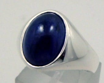 Natural Blue Sapphire cabochon   14x10mm  10 Carats   Heavy Sterling silver Mens ring 10 grams READY 2 SHIP