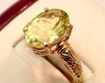 AAA Lemon Citrine   14x10mm  5.38 Carats   14K gold floral ring  025 MMM