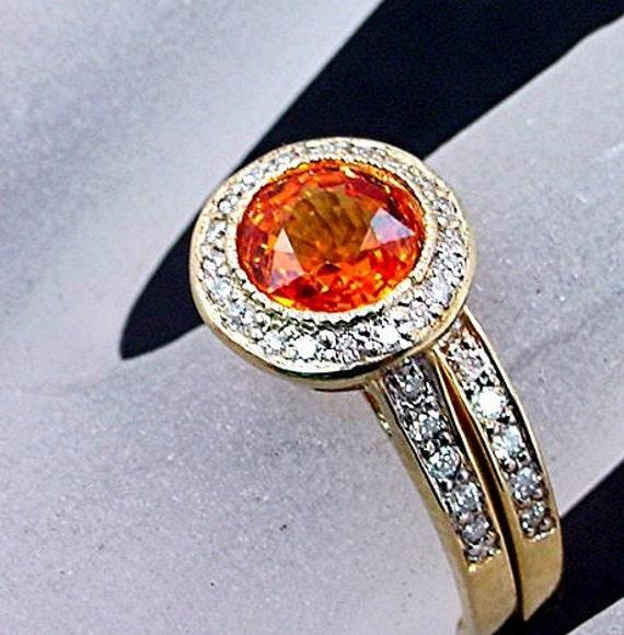 AAA Round Natural Orange Sapphire 7.00mm 1.57 Carats 14K Yellow gold diamond bridal set   B007 0776