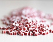 20g Opaque Red With White Stipes Czech Glass Size 8 Rocaille Seed Beads