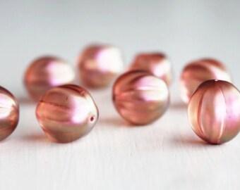 8 Guava 14mm Czech Glass Melon Beads