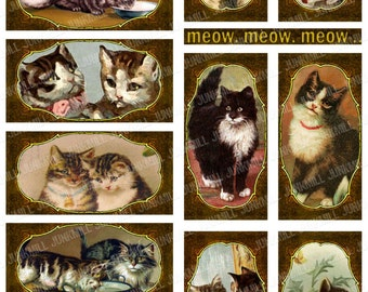 "WHISKERS - Digital Printable Collage Sheet - 1"" x 2"" Domino Tiles - Whimsical Framed Victorian Cats & Vintage Kittens, Digital Download"