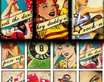 ROCKABILLY - Digital Printable Collage Sheet - Matchbox Size - Retro Rock-and-Roll Pin-Up Girls, Betty Page, Varga Girls, Digital Download