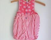 Vintage toddler girl romper osh kosh bgosh pink stripes and flowers